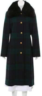 Brooks Brothers Plaid Fur Jacket