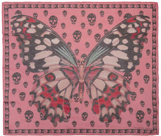 Alexander McQueen Pink and Black Giant Butterfly Skull Scarf