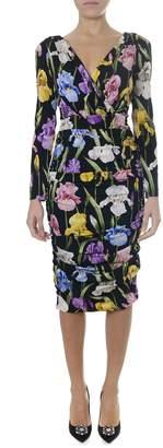 Dolce & Gabbana Iris Long Medium Flower Print Silk Dress