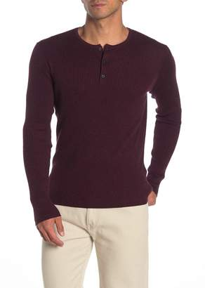 John Varvatos Ribbed Knit Long Sleeve Henley
