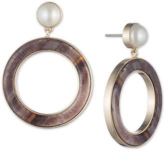DKNY Gold-Tone Imitation Pearl & Horn Drop Hoop Earrings, Created for Macy's