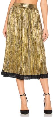 House of Harlow 1960 x REVOLVE Luna Midi Skirt in Metallic Gold $158 thestylecure.com