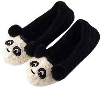 Nymphlu Women's Slippers Comfort Cotton Panda Cartoon Knitted Washable Flat Closed Toe Ultra Lightweight Indoor Shoes With Non-Slip Sole