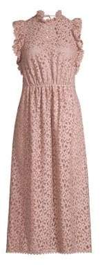 Kate Spade Women's Flora Crochet Lace Ruffle Midi Dress - Strawberry Mochi - Size 0