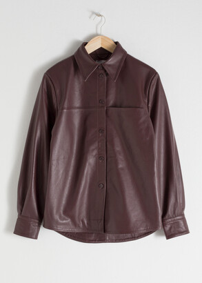 And other stories Leather Button Up Shirt