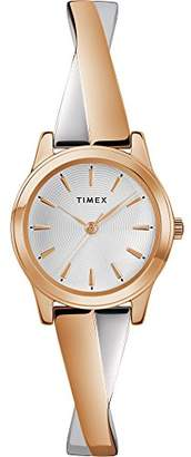 Timex Women's TW2R98900 Stretch Bangle Crisscross 25mm Rose Gold-Tone Expansion Band Watch