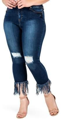 Standards & Practices Laura Fringe Hem Skinny Crop Jeans