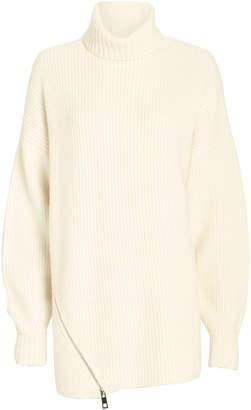 Tibi Zip Hem Cashmere Turtleneck Sweater