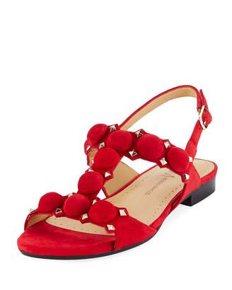 Neiman Marcus Egeria Studded Slingback Sandals, Red