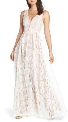 LuLu*s Eliana Lace V-Neck Gown