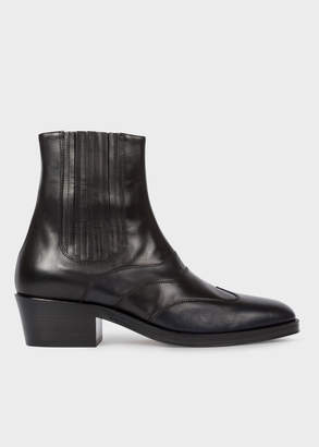 Paul Smith Men's Dark Navy And Black Leather 'Anvil' Chelsea Boots