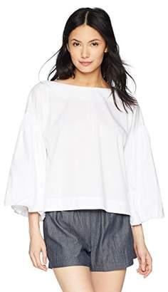 BCBGMAXAZRIA Women's Long Bell Sleeve Cotton Top