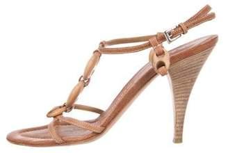 Prada Leather T-Strap Sandals