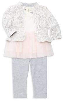 Miniclasix Baby Girl's Three-Piece Jacket Top& Pants Set