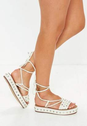 Missguided White Flatform Studded Ankle Tie Sandals