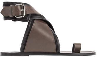 Isabel Marant Johen Leather And Canvas Sandals - Black