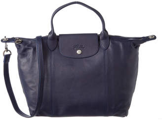 Longchamp Le Pliage Cuir Medium Leather Short Handle Tote