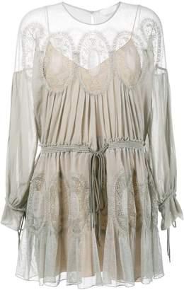 Chloé crochet panel dress