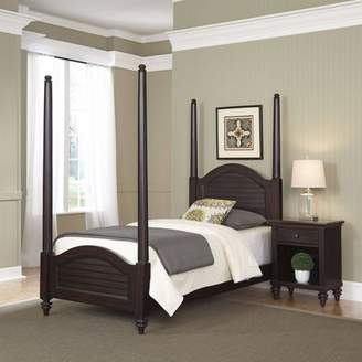 Home Styles Furniture Bermuda Espresso Twin Poster Bed and Night Stand