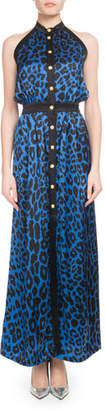 Balmain Sleeveless Button-Front Leopard-Print Silk Jersey Maxi Dress