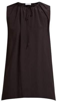 Raey Gathered Silk Sleeveless Smock Top - Womens - Black