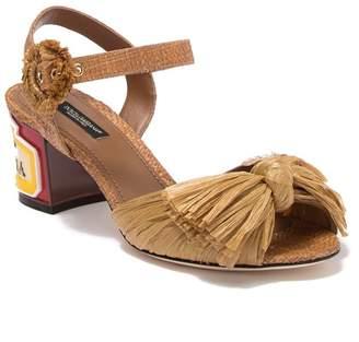 Dolce & Gabbana Straw Block Heel Sandal