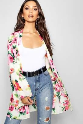 boohoo Floral Wide Sleeve Kimono