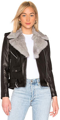 Understated Leather Easy Rider With Removable Fur Collar