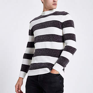 River Island Cream stripe slim fit chenille knit sweater