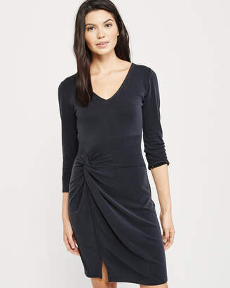 Abercrombie & Fitch Long-Sleeve Knot Front Dress