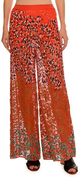 MissoniMissoni Leaf-Embroidered Wide-Leg Pants, Red