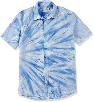 Isle Bay Linens Men's White and Blue Dip Dyed Short Sleeve Slim Fit Shirt Blue