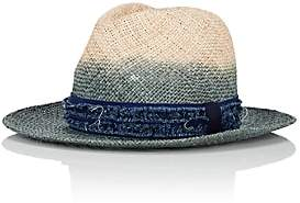 CA4LA Men's Dip-Dyed Straw Fedora-Blue