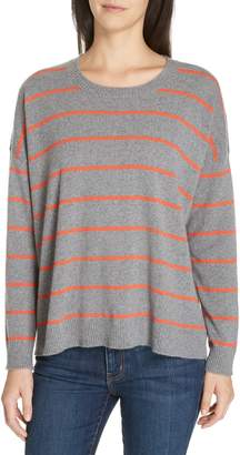 Eileen Fisher Stripe Boxy Cashmere & Wool Sweater