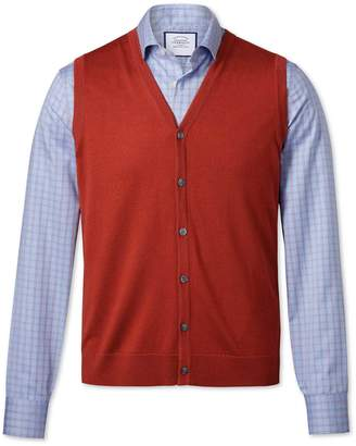 Charles Tyrwhitt Rust Merino Vest Size XL