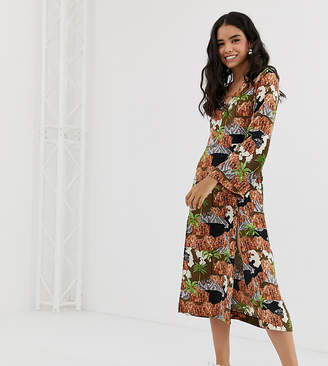 Monki long sleeve midi dress in island print