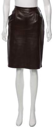 Saint Laurent Leather Knee-Length Skirt