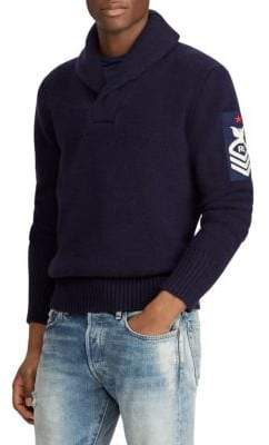 Polo Ralph Lauren Regular-Fit Long-Sleeve Wool Shawl Sweater