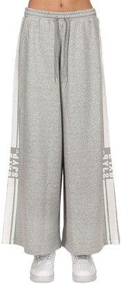 Sjyp Wide Leg Logo Stripe Tape Sweatpants