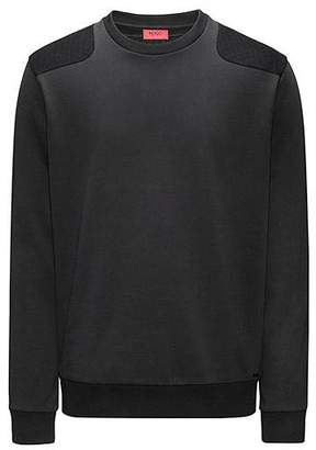 HUGO BOSS Cotton sweater with quilted panels
