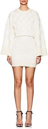 Paco Rabanne WOMEN'S CHECKERBOARD-PATTERN COTTON-BLEND DRESS - WHITE SAND SIZE M