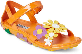 Prada Orange Floral-Applique Leather Sandals