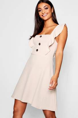 boohoo Tall Horn Button Detail Skater Dress