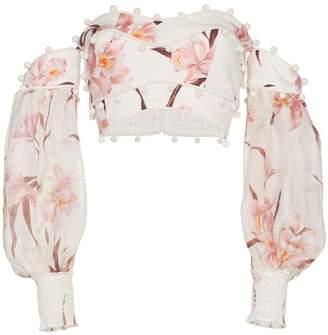 Zimmermann Corsage Bauble floral print off shoulder linen top