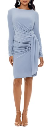 Xscape Evenings Ruched Long Sleeve Cocktail Dress