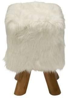Modern Square Faux Fur Stool