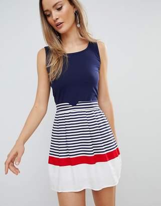 Zibi London Skater Dress With Striped Skirt