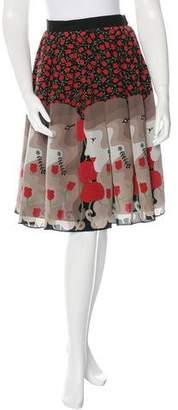 Holly Fulton Silk Rose & Face Print Skirt