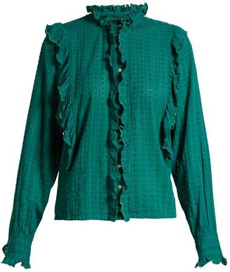 Etoile Isabel Marant Yann ruffle-trimmed cotton blouse