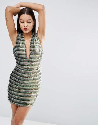 Red Carpet Asos Design Asos Deep Plunge Sequin Stripe Mini Dress